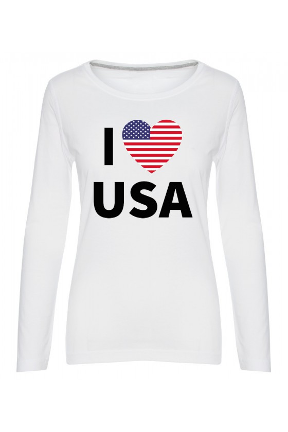 Koszulka Damska Longsleeve I Love USA