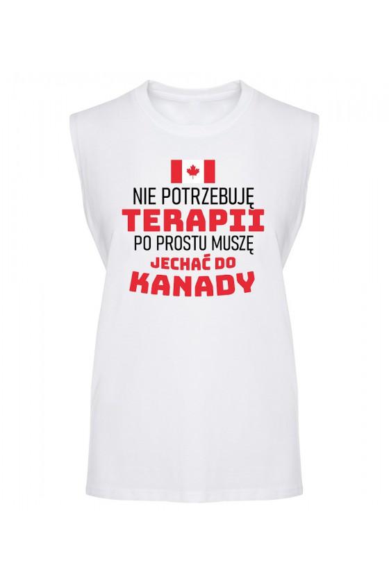 Koszulka Męska Tank Top Nie Potrzebuję Terapii, Po Prostu Muszę Jechać Do Kanady